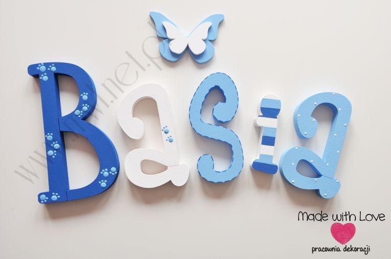 Literki imię dziecka na ścianę do pokoju - 3d - wzór MWL81 basia basia