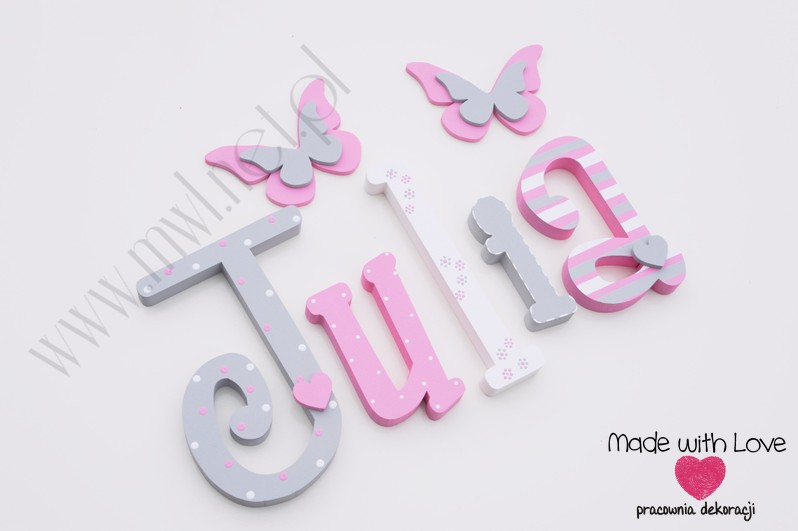 Literki imię dziecka na ścianę do pokoju - 3d 20cm - wzór MWL167 MD julia julka julcia julia oliwia