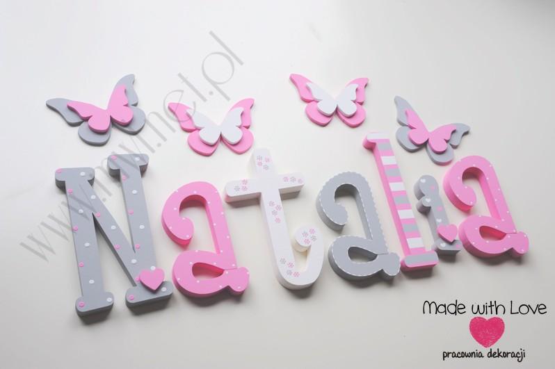 Literki imię dziecka na ścianę do pokoju - 3d 30cm - wzór MWL167 MD natalia nati natalka
