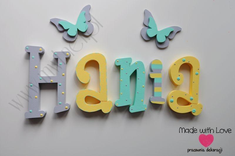 Literki imię dziecka na ścianę do pokoju - 3d - wzór MWL87 hania hanka haneczka hania