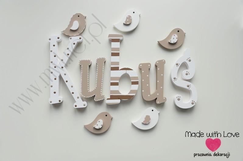 Literki imię dziecka na ścianę do pokoju - 3d 20cm - wzór MWL168 kubuś kuba jakub kubuś