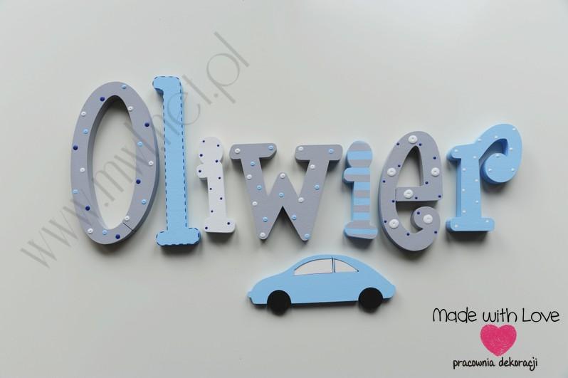 Literki imię dziecka na ścianę do pokoju - 3d 20cm - wzór MWL171 oliwier oliwier