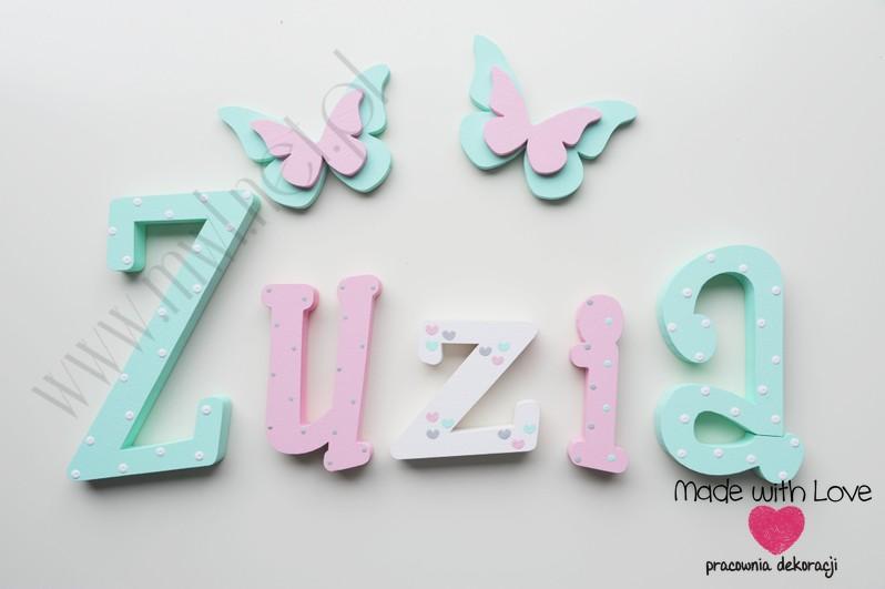 Literki imię dziecka na ścianę do pokoju - 3d 25cm - wzór MWL174 zuzia zuzka zuzanna zuza