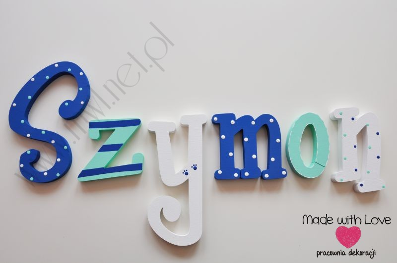 Literki imię dziecka na ścianę do pokoju - 3d - wzór MWL96 szymon szymek szymuś szymonek szymon