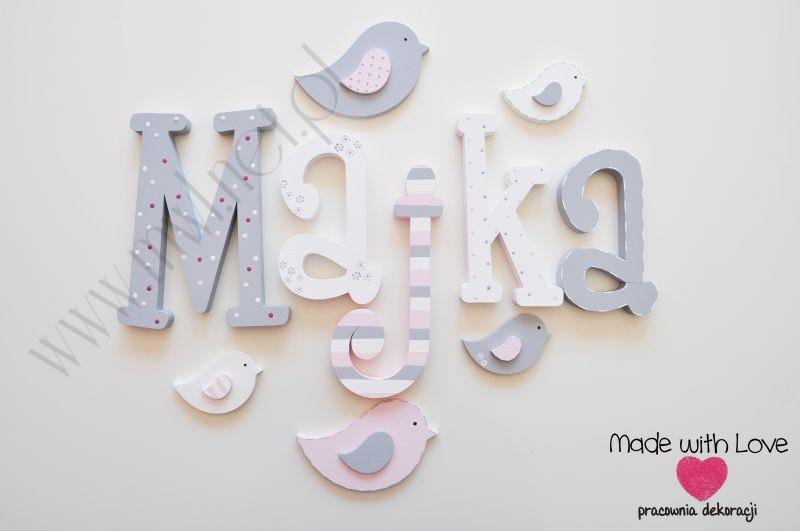 Literki imię dziecka na ścianę do pokoju - 3d - wzór MWL97 majka maja majka