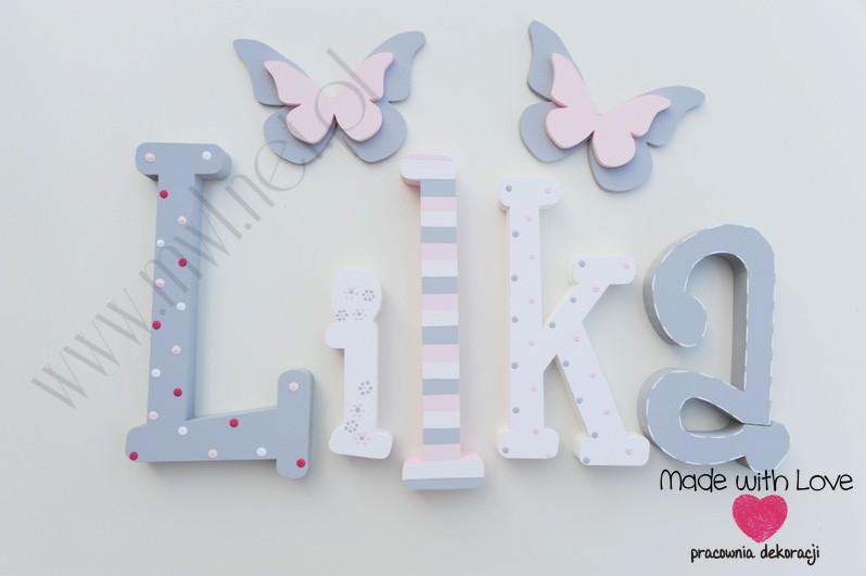 Literki imię dziecka na ścianę do pokoju - 3d - wzór MWL97 lilka lila liliana lilianka lilianna lilunia majka